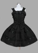 new Black Multilayer Cotton Gothic Lolita Dress