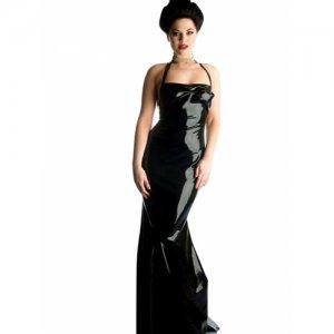 Black Halter Sweep Train Latex Mermaid Dress