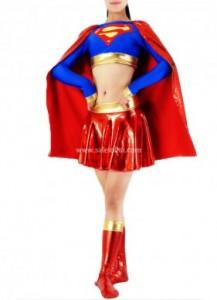 new Trendy Sexy Lycra Glueing Supergirl Costume