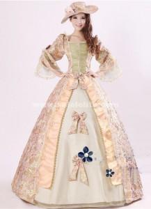 Elegant Pink Print Royal Palace Marie Antoinette Ball Gown, Civil War Medieval Renaissance Dress Costumes
