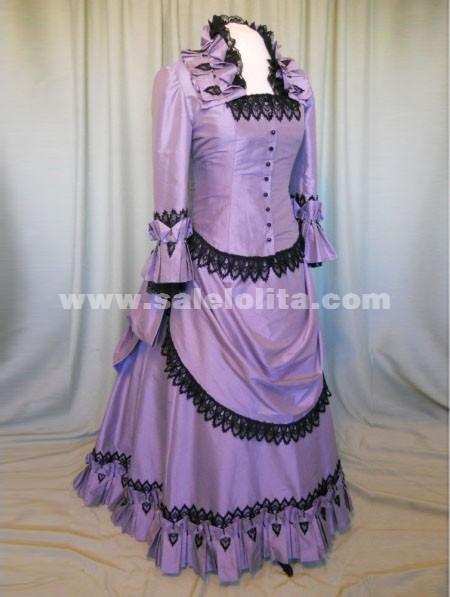 2014 New Arrival Noble Purple Turn-down Collar Floor-Length Halloween Victorian Bustle Ball Gown