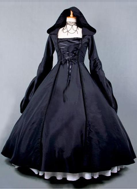 2015 New Black Retro Long Sleeve Gothic Victorian Dress Halloween Party Dress