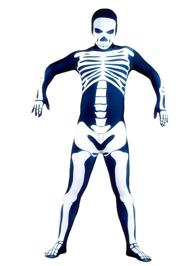 Hot Sale Navy Lycra Skeleton Costume