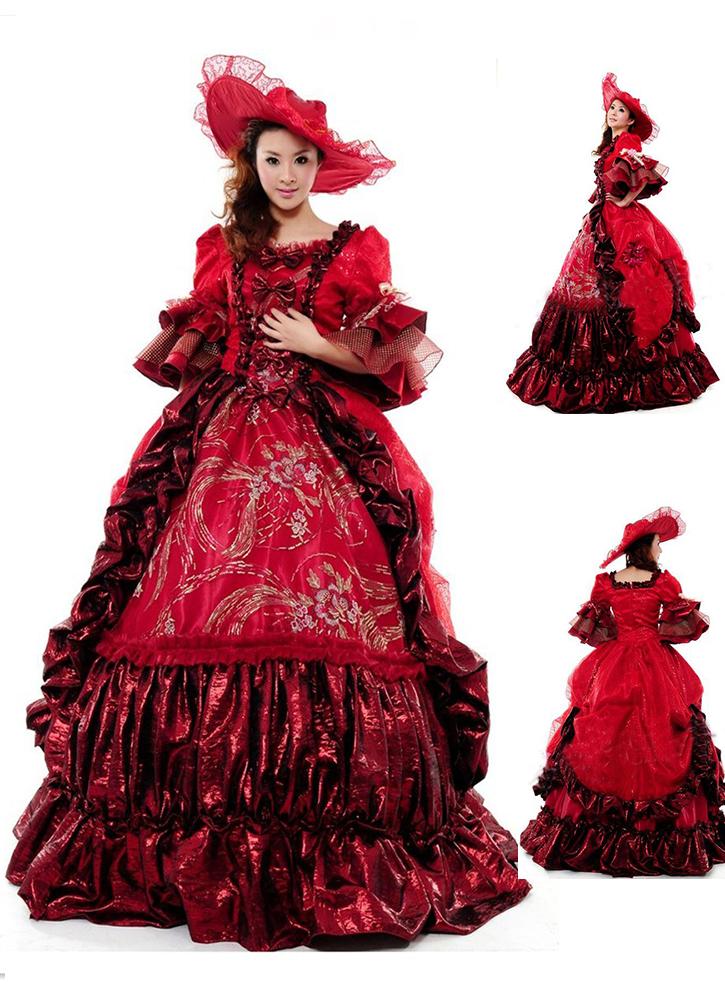 High-end Red Floral Marie Antoinette Wedding Dress 17th 18th Century Medieval Hepburn Retro Victorian Wedding Dress