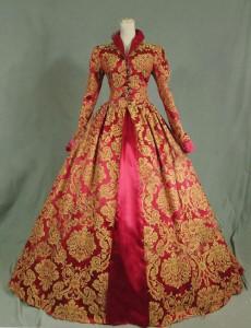 Brand New Print Brocade Long Victorian Tudor Jacquard Period Dress 17th Century Ball Gowns Costume