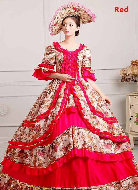 Red Medieval Renaissance 18th Century Victorian Marie Antoinette Dress
