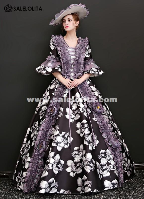 Victorian Renaissance Floral Dress Ball Gown Black Princess Prom Reenactment Clothing For Halloween