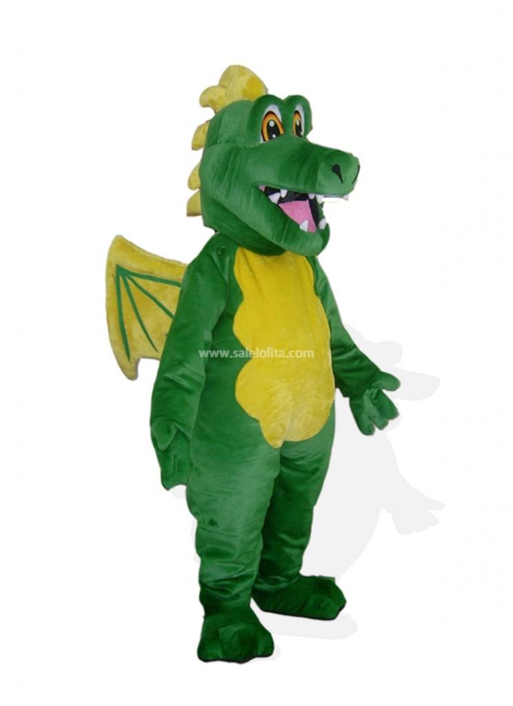 Green With Yellow Wings Plush Dragon Mascot Costume