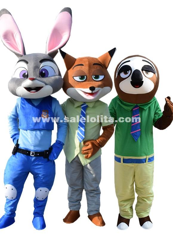 Zootopia Adult Judy Rabbit Mascot Costume Nick Fox Party Costume Flash Sloth Cartoon Parade Fancy Costume
