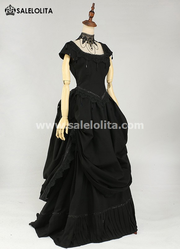 Black Sequins Gothic Victorian Bustle Dress