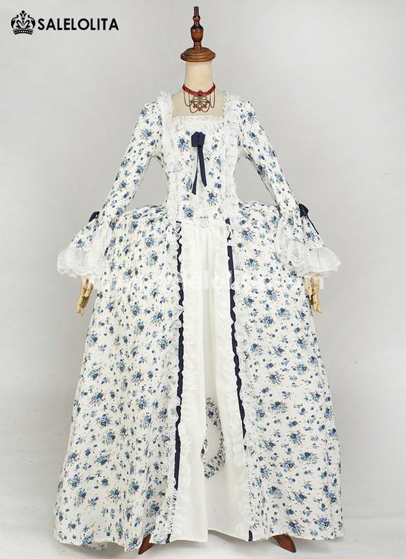 Renaissance Blue Floral Rococo Marie Antoinette Ball Gown Victorian Dress