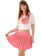 Pink and White Short Sleeves Ruffled Lolita Suit