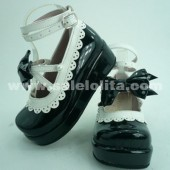Custom Black Bow Princess Lolita Shoes