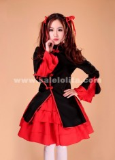 Fashion Women's Sweet and cute red and black sexy maid dress uniforms role-playing game 2018