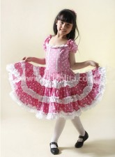 Pink Kids Lolita Dress With White Polka Dots
