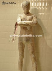 New Gold Sequined Full Bodysuit Shiny Metallic Zentai For Halloween