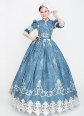Blue Floral Rococo Marie Antoinette Dress Vintage Rococo Photography Clothing Reenactment Costume