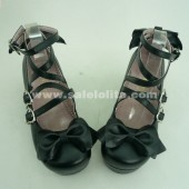 black bow dress shoes black princess lolita shoes