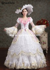 Elegant White Pink Flower Marie Antoinette Costume Wedding Party Dresses
