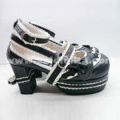 Fashion White And Black Bowknot Lolita Shoes