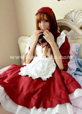 Sweety Top Sale Cotton Red And White Princess Maid Lolita Dress Costume For Girl 2018