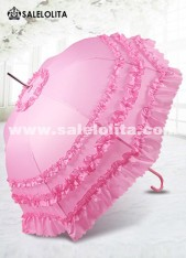 Cosplay Props Lolita Umbrella Princess Wedding Bride Ruffled Pink Sun Umbrella