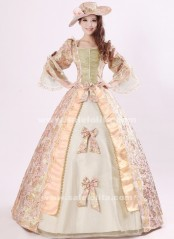 Elegant Pink Print Royal Palace Marie Antoinette Ball Gown, Civil War Medieval Renaissance Dress Costumes