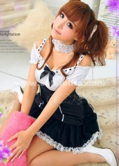 2018 New Arrival Cheap Dark Blue Sexy Lolita Maid Cosplay Mini Dresses For Girl