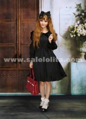 Long Sleeve Black Cotton Bow O-Neck Gothic Lempicka Lolita Dress For Lady