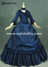 Brand New Dark Blue Gothic Victorian Dresses French Bustle Period Ball Gowns Reenactment Halloween Costumes