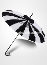 Black and white Vertical Bar Princess Umbrella Long Umbrella Reinforcement