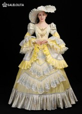 High Quality Yellow Masquerade Fancy Dress Marie Antoinette Dress Gown Baroque Masquerade Historical Costume