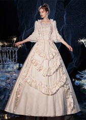 Champagne Rococo Belle Gown Medieval Renassance Victorian Party Dress Theatre Costume