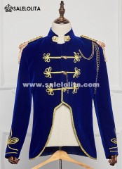 Men Party Aristocrat Blue Costume Adult Halloween Retro Costume