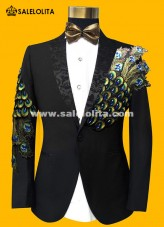 Theater Stage Costume Men Slim Fit Tuxedo Peacock Black Suit