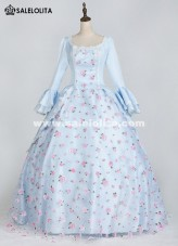 Womens Victorian Civil War Blue Costume Southern Belle Floral Ball Gown Dress