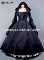 2015 New Black Retro Long Sleeve Gothic Victorian Dress Halloween Party Dress