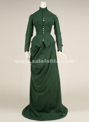 2018 Latest Designs Green Long Sleeves Medieval Renaissance Victorian Bustle Ball Gown