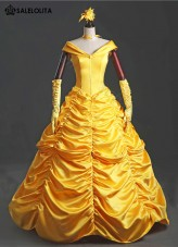 High Quality Disney Belle Princess Dress Adult Yellow Moive Beauty and the Beast Cosplay Costume For Women