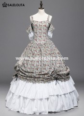 Victorian Civil War Floral Dress Ball Gown Medeival Rennaissance Reenactment Adult Halloween Costume