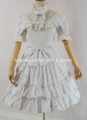 White Short Sleeve Stand Collar Bow Multi layer Cotton Sweet Lolita Dress