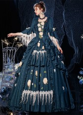 Blue Rococo Ball Gown Dress Steampunk Gothic Victorian Period Queen Dresses Carnival Reenactment Costume