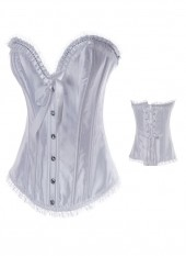 Beautiful White Matte Satin Pleated Women's Bustier