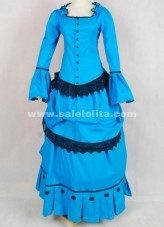 Brand New Lake Blue And Black Lace Medieval Renaissance Flare Sleeve Victorian Bustle Ball Gown