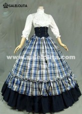 Medieval Victorian Gothic Dress Carnival Grid Ball Gown