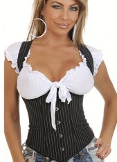 Black Corset with White Stripes from China