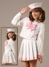 Sweet Princess Inexpensive White School Lolita Suit Ruffled