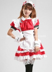 New Arrival Casual Red And White Short Sleeve Bow Cosplay Maid Dress Costumes