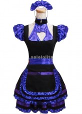 Purple Ruffled Short Sleeves Square Collar Gothic Lolita Dress