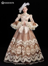 Champagne Rococo Embroidery Princess Marie Antoinette Dress Vintage Renaissance Reenactment Steampunk Halloween Costume